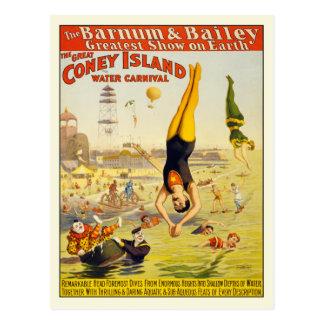 Poster do cartão do carnaval da água de Coney