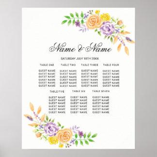 Poster do casamento que assenta o sinal floral
