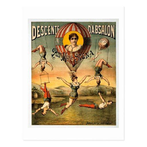 Poster do circo da senhorita Stena Vôo Trapese Vin Cartoes Postais