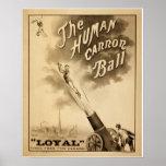 Poster do circo do vintage - a bola de canhão