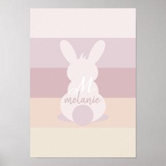 Poster do coelhinho da Páscoa do chique com nome