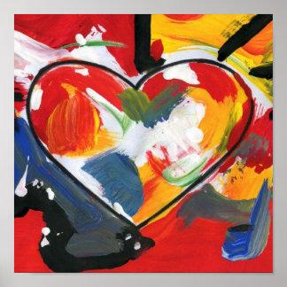 Poster do coração da pintura da arte abstracta