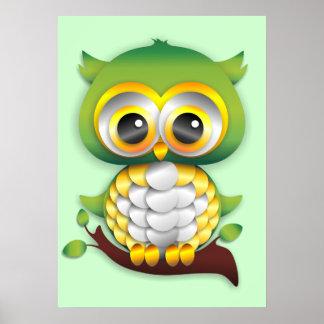 Poster do design do artesanato de papel da coruja  pôster