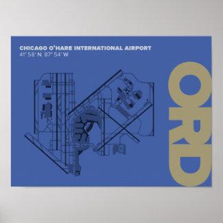 Poster do diagrama do aeroporto de Chicago O'Hare
