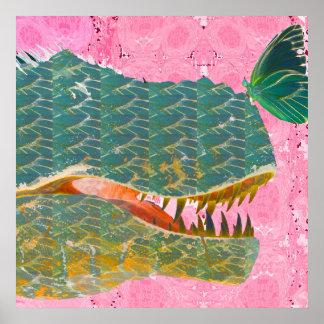 Poster do dinossauro com impressão da arte da