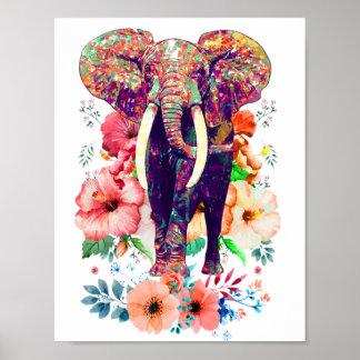 Poster do elefante e da flor