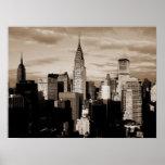 Poster do esboço da tinta da Nova Iorque do Sepia