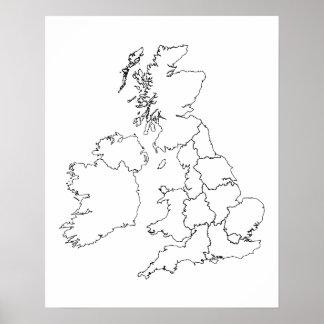 Poster do esboço de Reino Unido Pôster