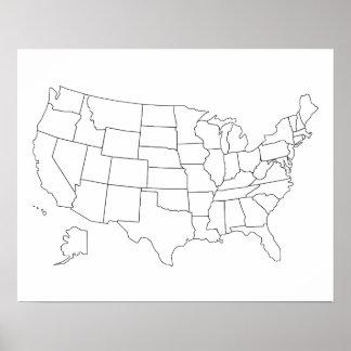 Poster do esboço do mapa dos Estados Unidos Pôster