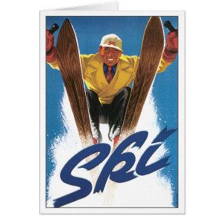 Poster do esqui da reprodução cartão comemorativo