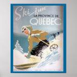 Poster do esqui do vintage, Quebeque para esportes