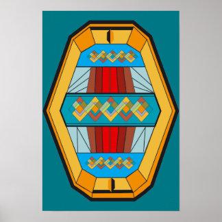 Poster do estilo do art deco com forma da gema pôster