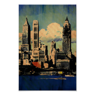 Poster do estilo do vintage da skyline de New York
