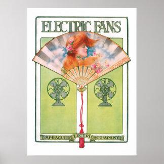 Poster do fã elétrico do art deco
