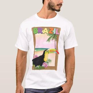 Poster do feriado da praia de Brasil Toucan Camiseta