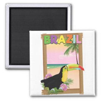 Poster do feriado da praia de Brasil Toucan Ímã Quadrado