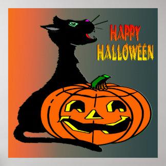 Poster do gato preto & da Jack-O-Lanterna