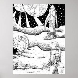 Poster do impacto B&W do espaço