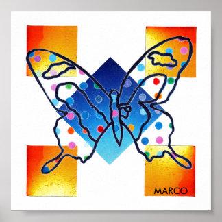 Poster do impressão da borboleta da janela de