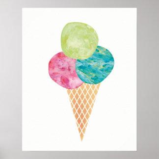 Poster do impressão do sorvete do gelato da