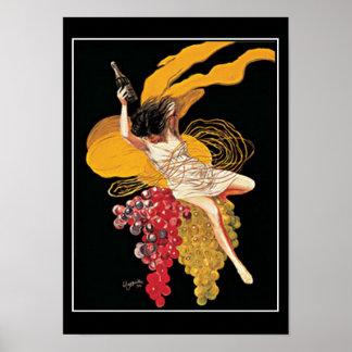 Poster do impressão do vintage das uvas para vinho
