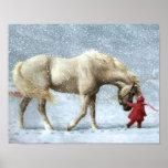 Poster do inverno do cavalo e da menina