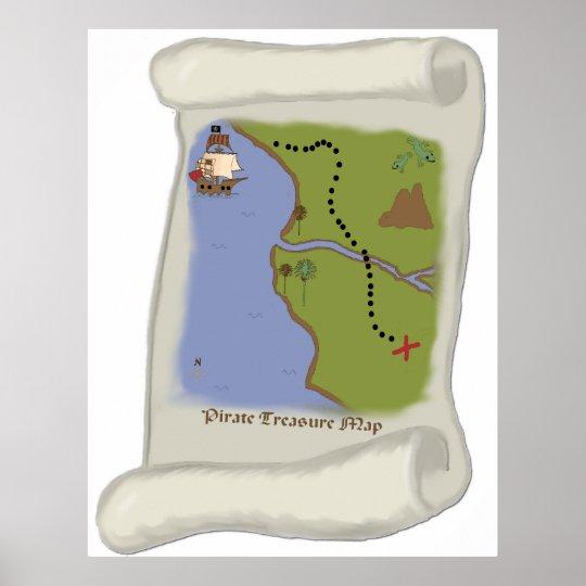 Poster do jogo do mapa do tesouro do pirata pôster