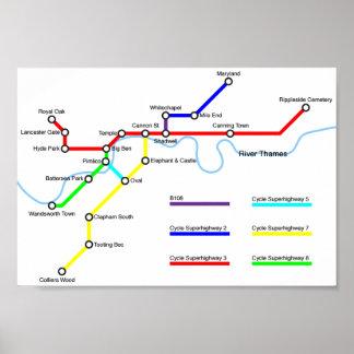 Poster do mapa da bicicleta de Londres