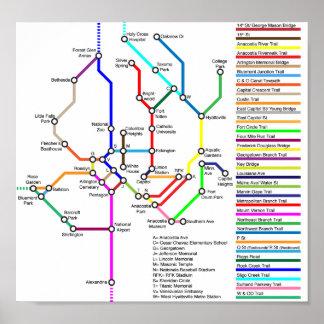 Poster do mapa da bicicleta do Washington DC