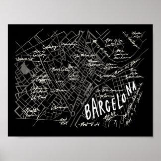 Poster do mapa da espanha de Barcelona - estilo