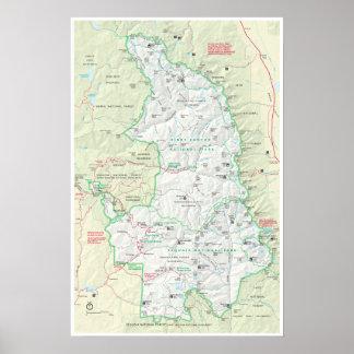 Poster do mapa da sequóia & dos reis Garganta