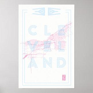 Poster do mapa de 12 x de 18 Cleveland ciano
