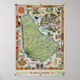 Poster do mapa de Barbados do vintage Pôster