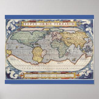 Poster do mapa do mundo do vintage