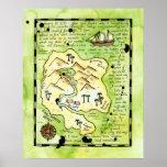 Poster do mapa do tesouro do pirata da ilha dos pa