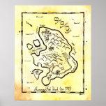 Poster do mapa do tesouro do pirata da ilha dos pe