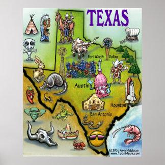 Poster do mapa dos desenhos animados de TEXAS