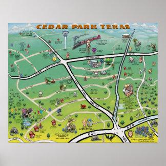 Poster do mapa dos desenhos animados de Texas do p