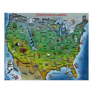 Poster do mapa dos desenhos animados dos EUA grand Pôster