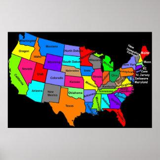 Poster do mapa dos Estados Unidos