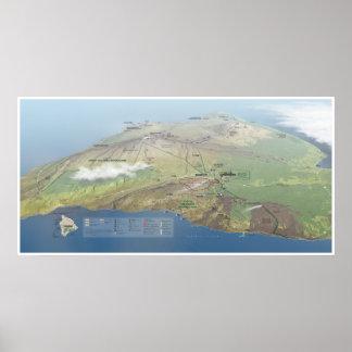 Poster do mapa dos vulcões de Havaí Pôster