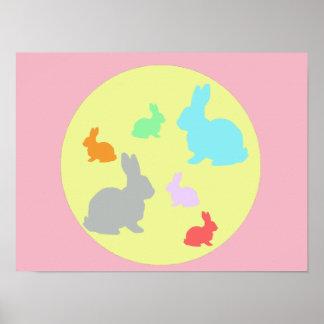 Poster do mundo A3 do coelho/coelho