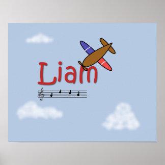 Poster do nome do avião de Liam