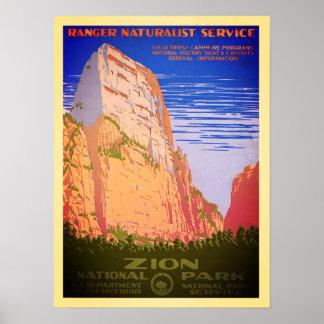 Poster do parque nacional de Zion do vintage
