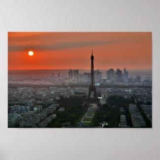 Poster do por do sol de France da torre Eiffel de Pôster