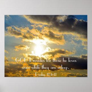 poster do por do sol do 119:11 do salmo do verso d