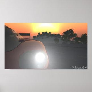 Poster do por do sol do carro
