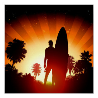 Poster do por do sol do surfista