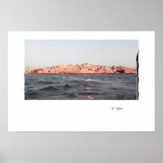 Poster do porto de Jaffa do vintage