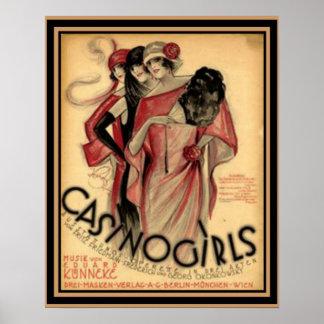 """Poster Do """"poster 16 x 20 do art deco das meninas casino"""""""